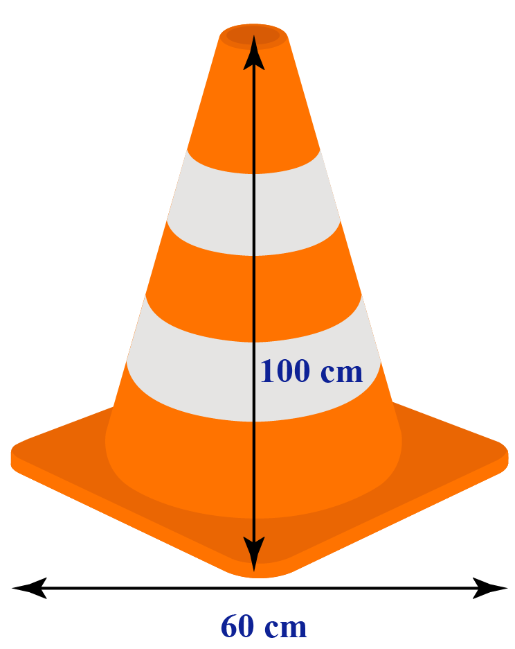 Traffic cone of height 100 cm and radius 60 cm
