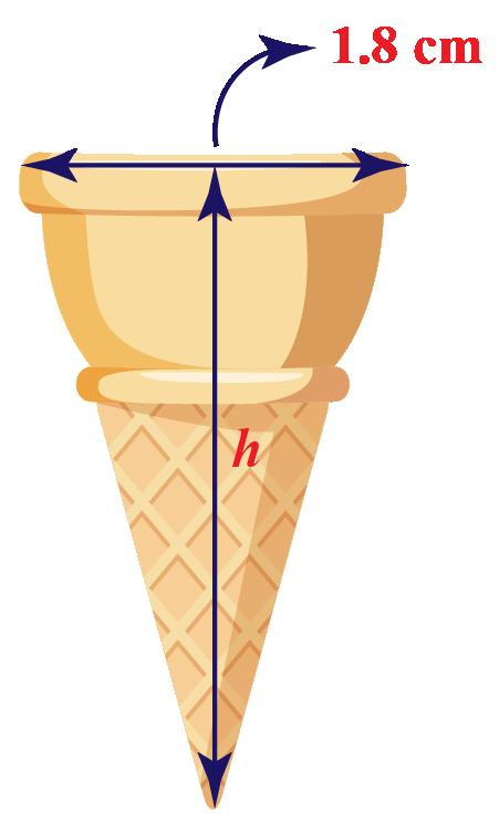 cone with radius 1.8 cm.