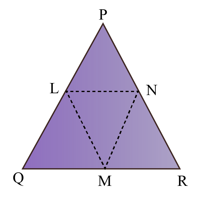 Example of congruent triangles of class 8 - Triangle PQR is an isosceles triangle. L and M are the midpoints of the equal sides, and N is the mid point of the third side.