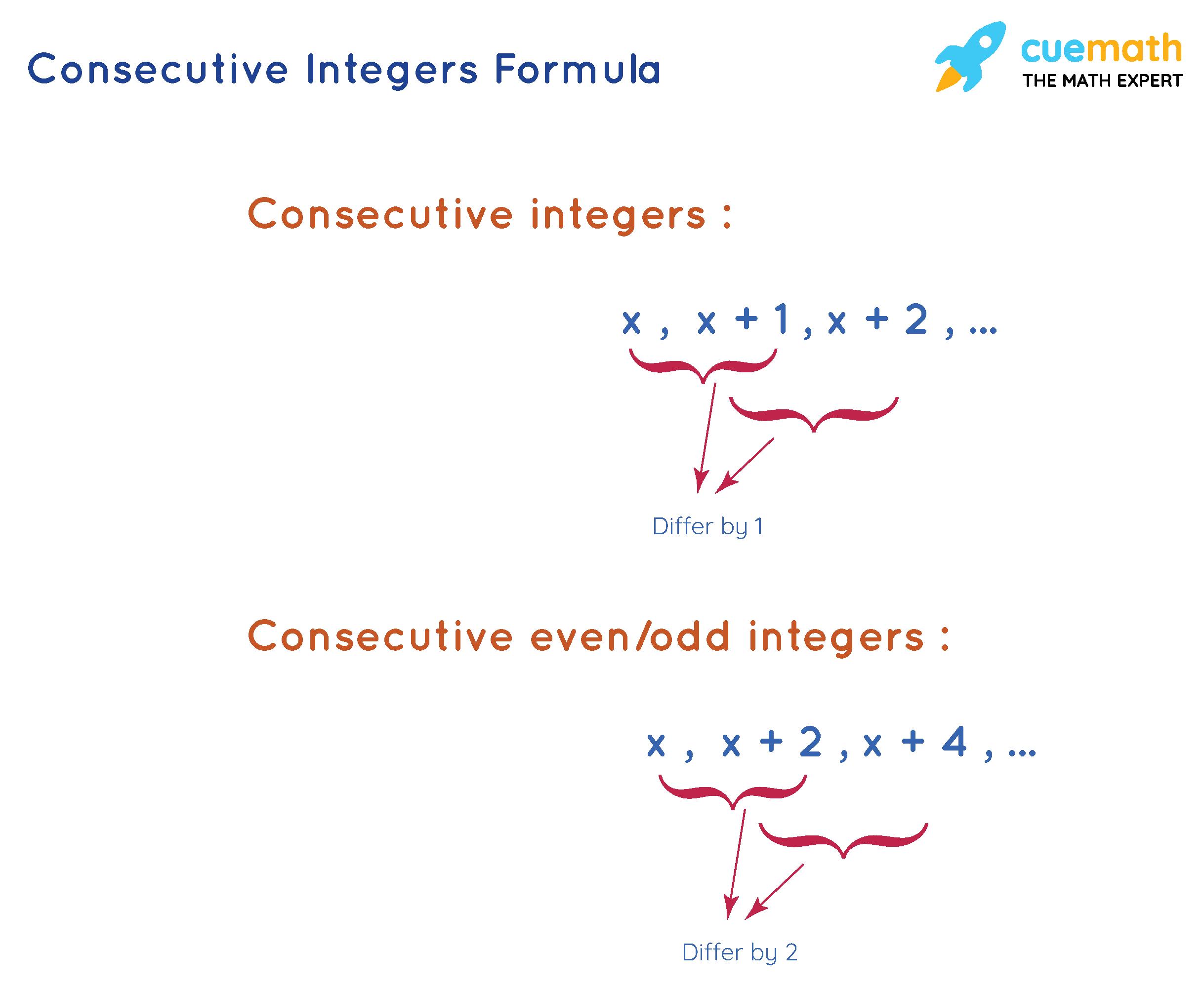 consecutive integers formula and consecutive even or odd integers formula