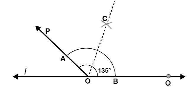 Draw an angle of measure 135° and bisect it.