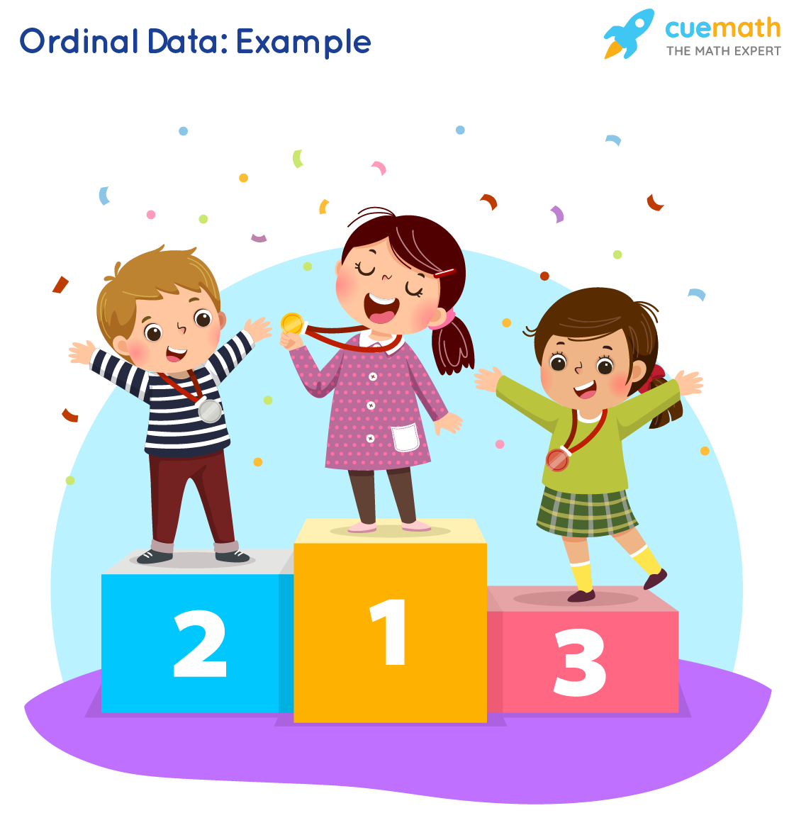 Vector illustration of three kids with medals standing on winners pedestal. Premium Vector
