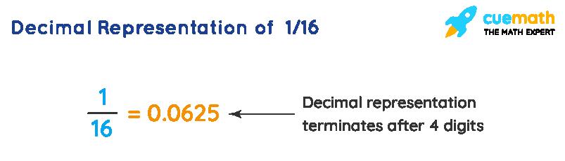 Decimal Representation of 1 divided by 16 - Terminating