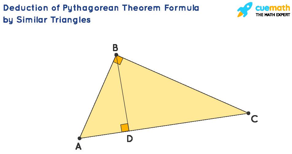 :Deduction of Pythagorean Theorem Formula by Similar Triangles