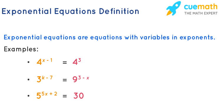 Exponential equations definition and exponential equations examples