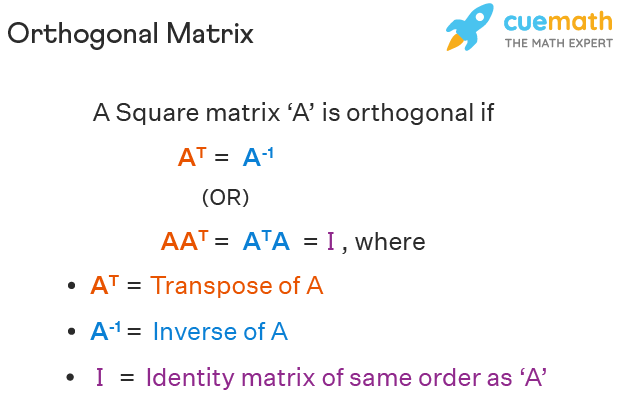 Orthogonal matrix definition is given. It says A transpose is equal to A inverse or A times A transpose is equal to identity matrix I.