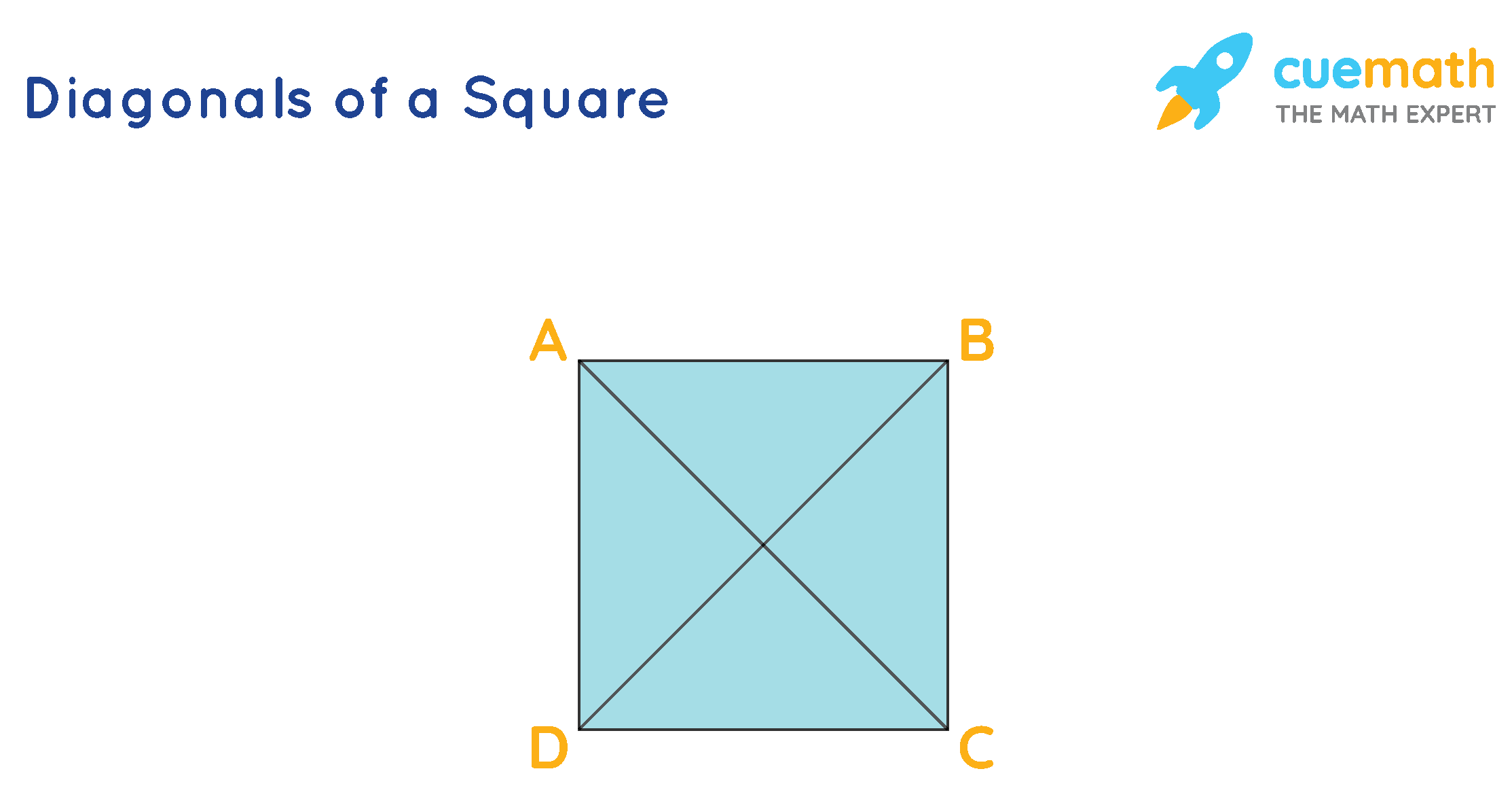 The diagonals of a square are shown. Each square has 2 diagonals.