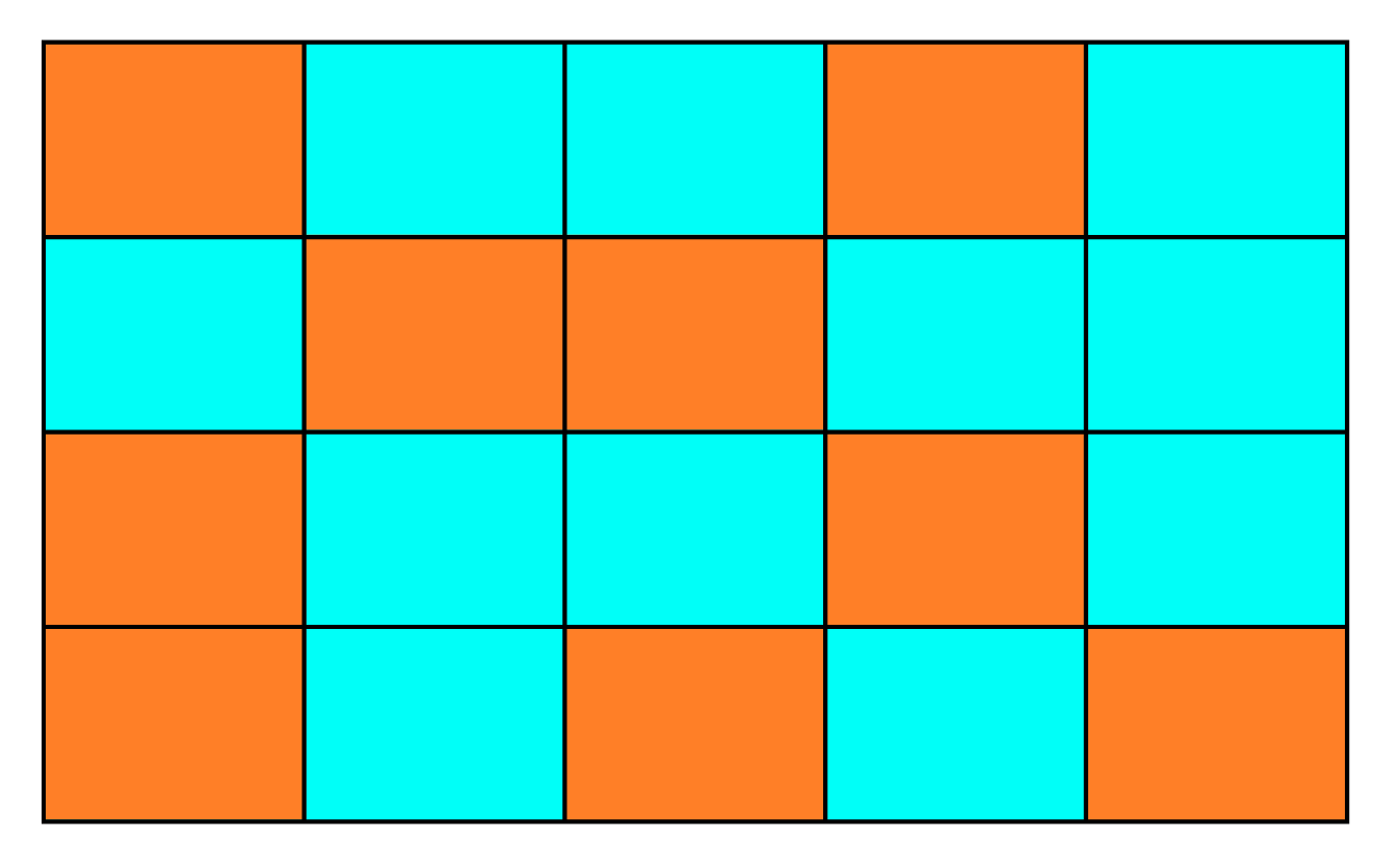 ratio example - a grid with 9 orange and 11 green squares