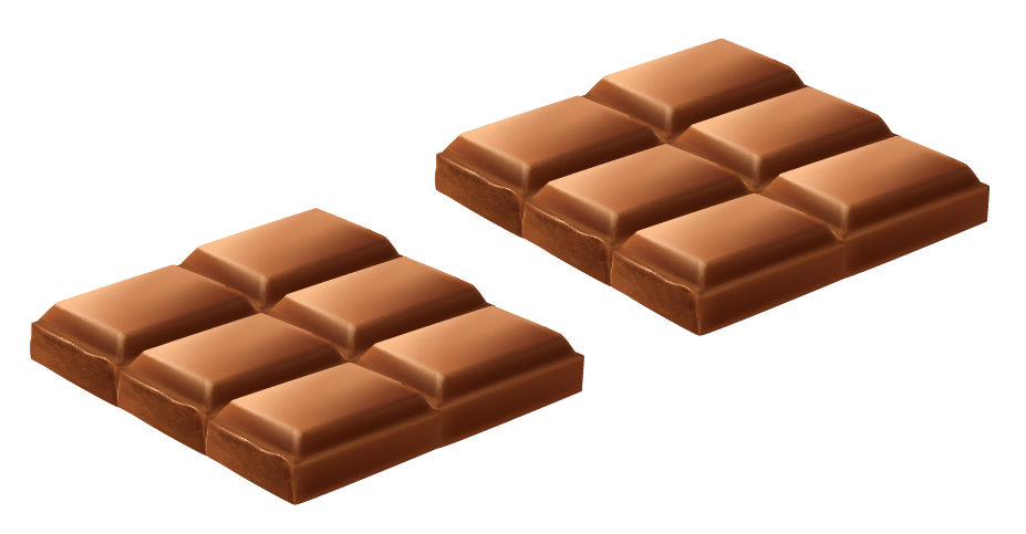 dividing a chocolate bar into two equal portions