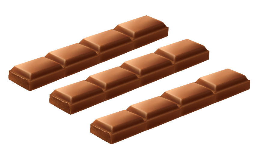 3 equal parts are made from a bar of chocolate having 12 pieces