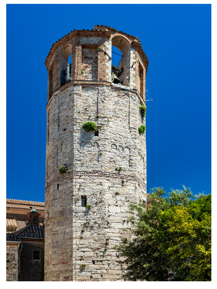 The dodecagonal bell tower, symbol of the city of Amelia is built with irregular blocks of stone and brick.