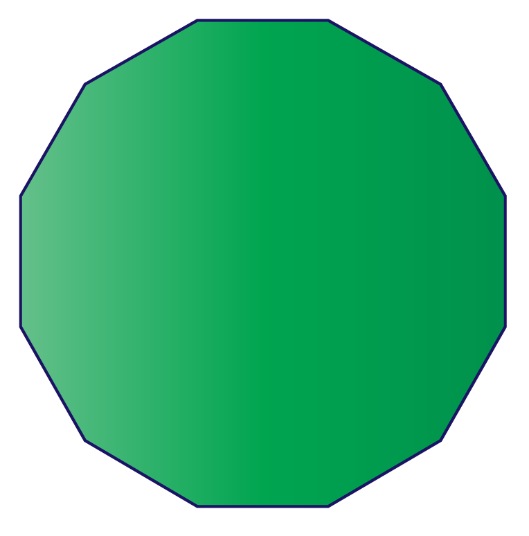 A regular dodecagon of sides 5 cm.