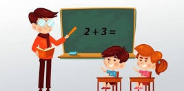 A teacher teaching addition to kids