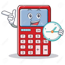 Clip art of calculator with a timer