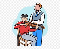Music teacher guiding a student