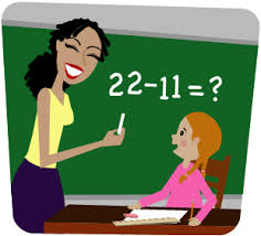 Teacher teaching subtraction to a student