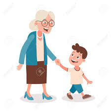 grandmother and grandchild clipart