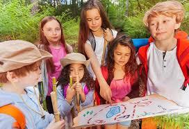 Kids playing scavenger hunt