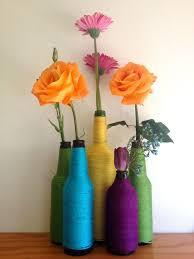 Flower vase made out of bottles