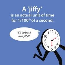 Jiffy: Unit of time for 1/100 of a second