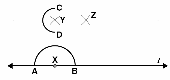 Draw a line l and a point X on it. Through X, draw a line segment XY perpendicular to l. Now draw a perpendicular to XY at Y. (use ruler and compasses)