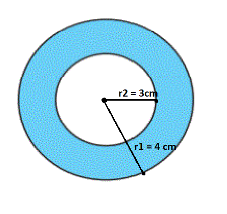 From a circular sheet of radius 4 cm, a circle of radius 3 cm is removed. Find the area of the remaining sheet. (Take π = 3.14)