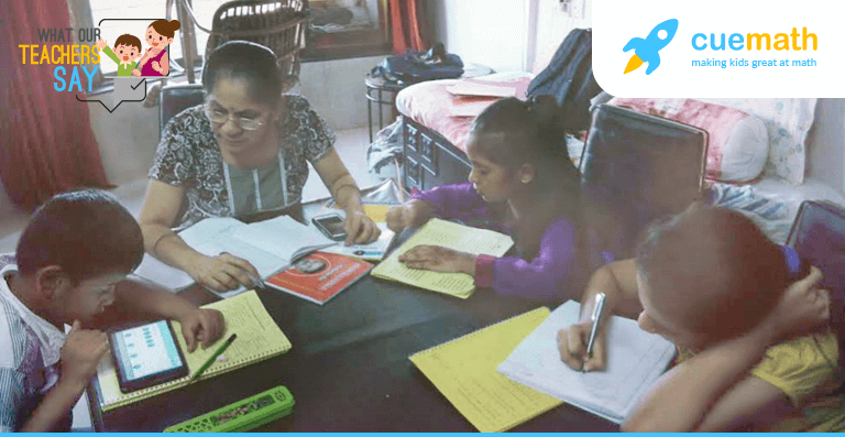 cuemath teacher with her students