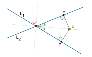 X is equidistant from L1 and L2