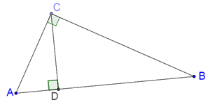 Right-angled triangle and altitude