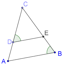 Line parallel to base of isosceles triangle