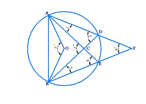 calculating angles of triangles in circle