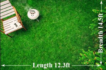 estimation of area of rectangular lawn