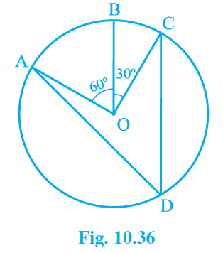 In the given figure A, B and C are three points on a circle with center O such that ∠BOC = 30o and ∠AOB = 60o. If D is a point on the circle other than the arc ABC, find ∠ADC.