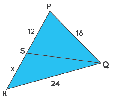 Angle bisector - find the value of x in triangle PQR