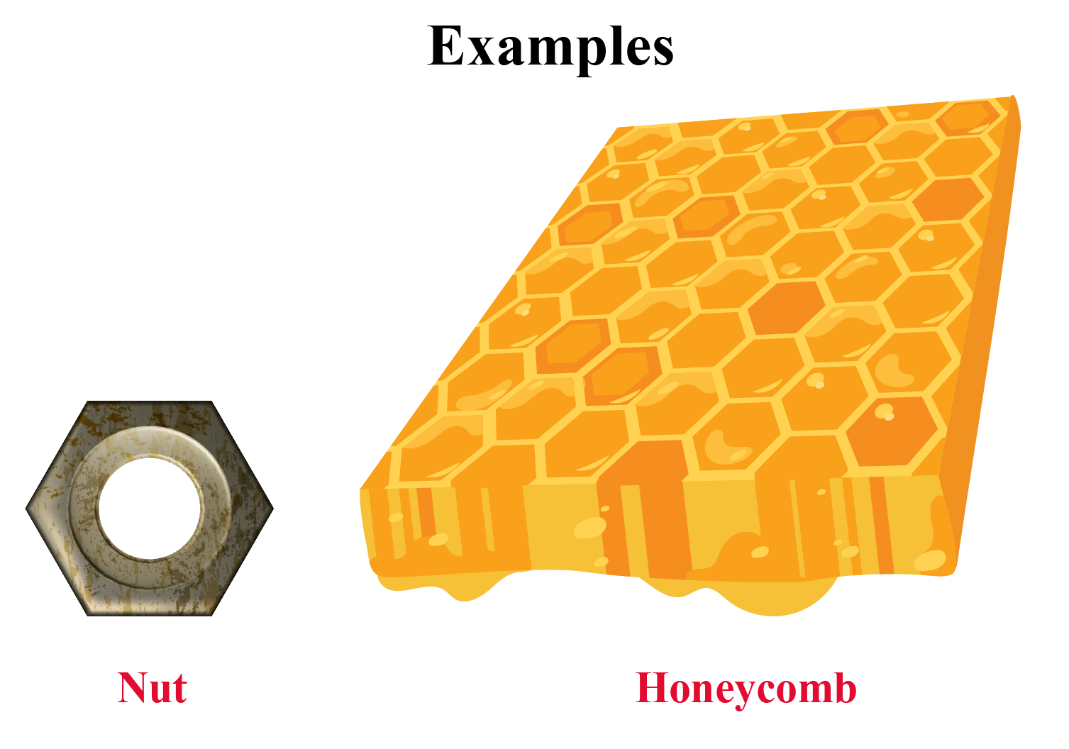 Hexagons real life examples of a metal nut and honeycomb