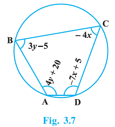 ABCD is a cyclic quadrilateral (see Fig. 3.7).Find the angles of the cyclic quadrilateral.