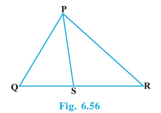 In Fig. 6.56, PS is the bisector of ∠QPR of ΔPQR. Prove that QS/SR = PQ/PR.