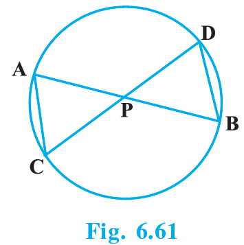 In Fig. 6.61, two chords AB and CD intersect each other at the point P. Prove that:(i) ΔAPC ~ ΔDPB    (ii) AP.PB = CP.DP
