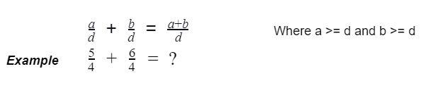 improper fractions with same denominator