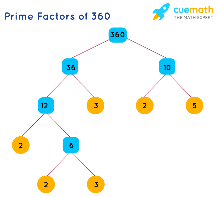prime factors of 360 using factor tree