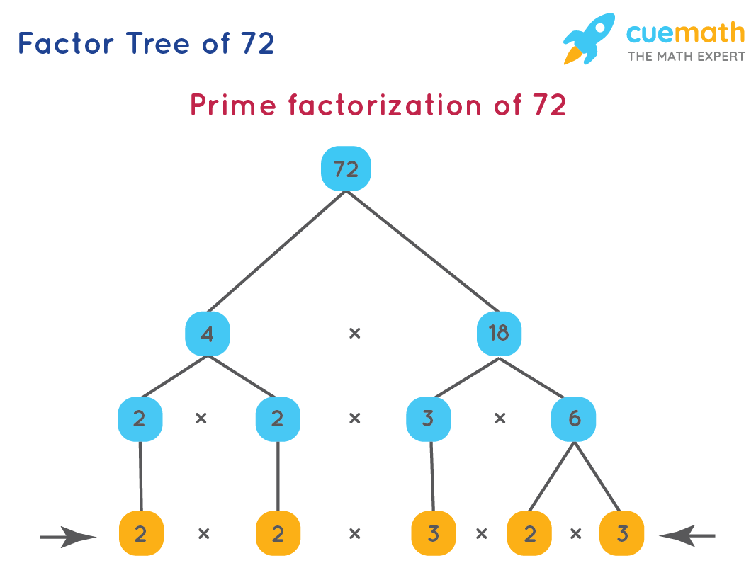 Prime factorization of 72 using factor tree