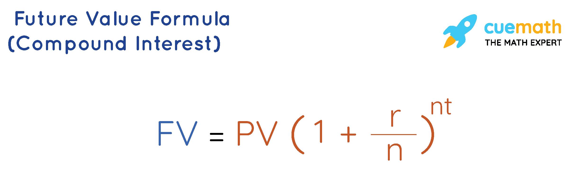 future value formula of compound interest, FV = PV ( 1+r/n)^nt