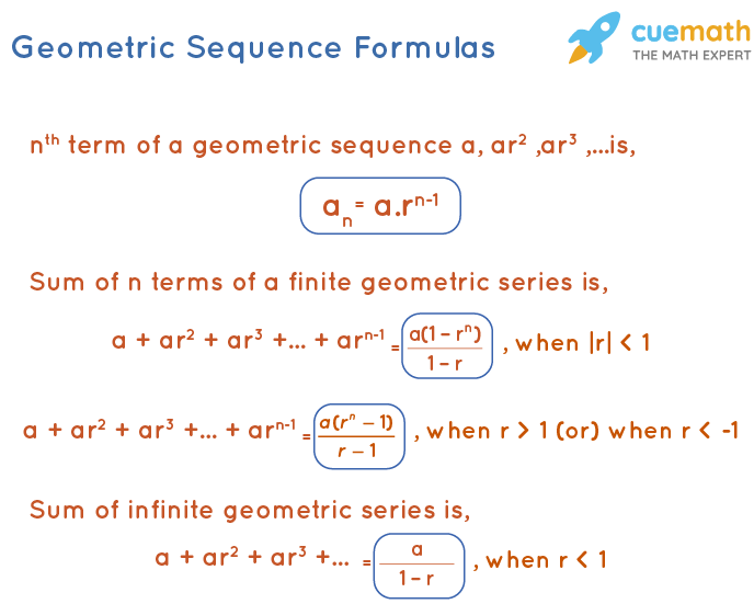 geometric sequence formulas for nth term, sum of n terms, sum of infinite terms