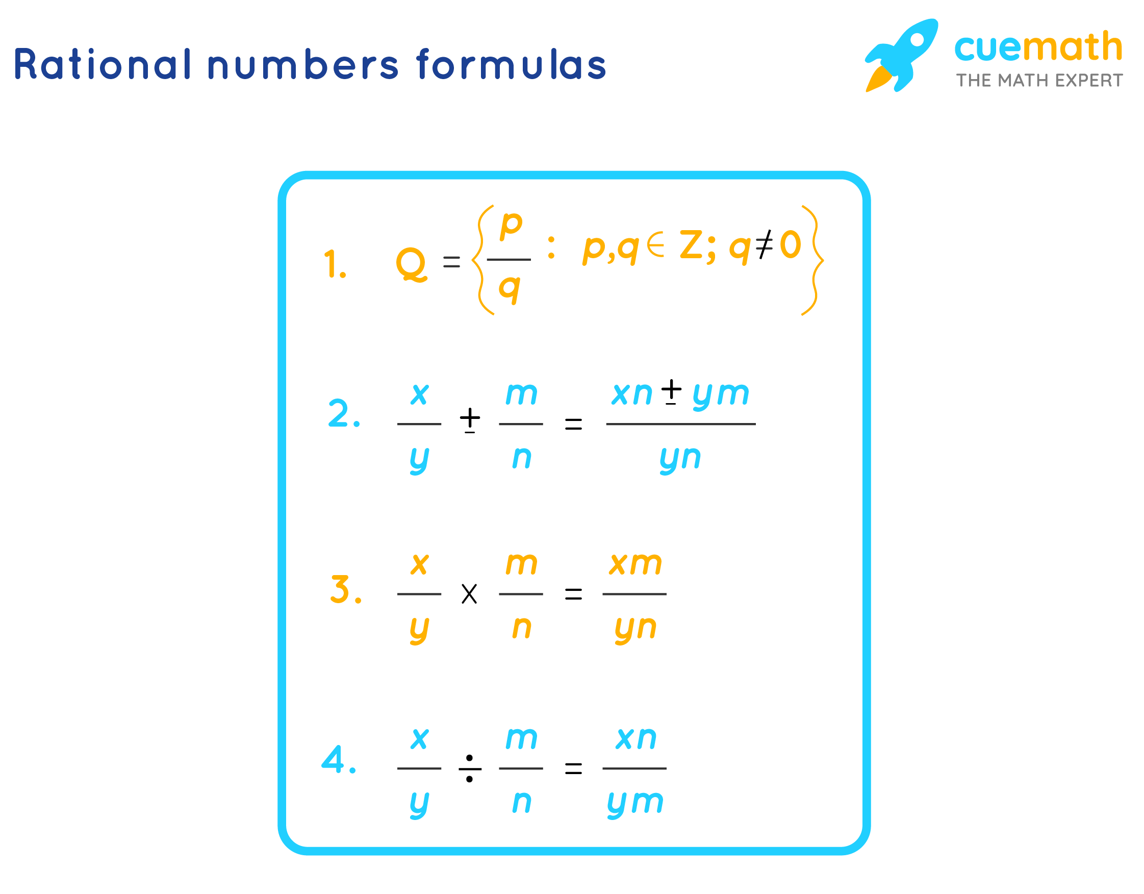 Rational numbers formulas