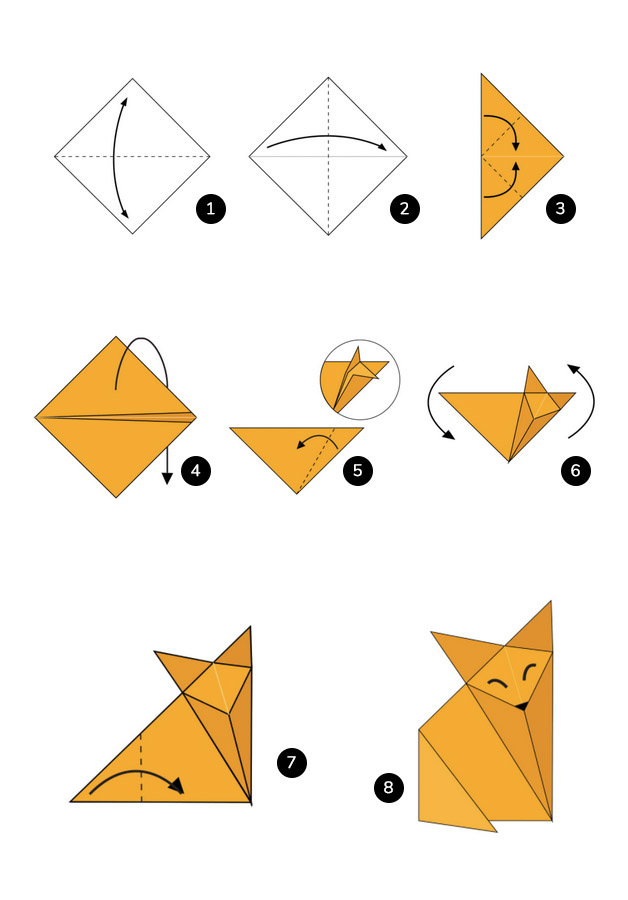 Steps to make a fox using Origami