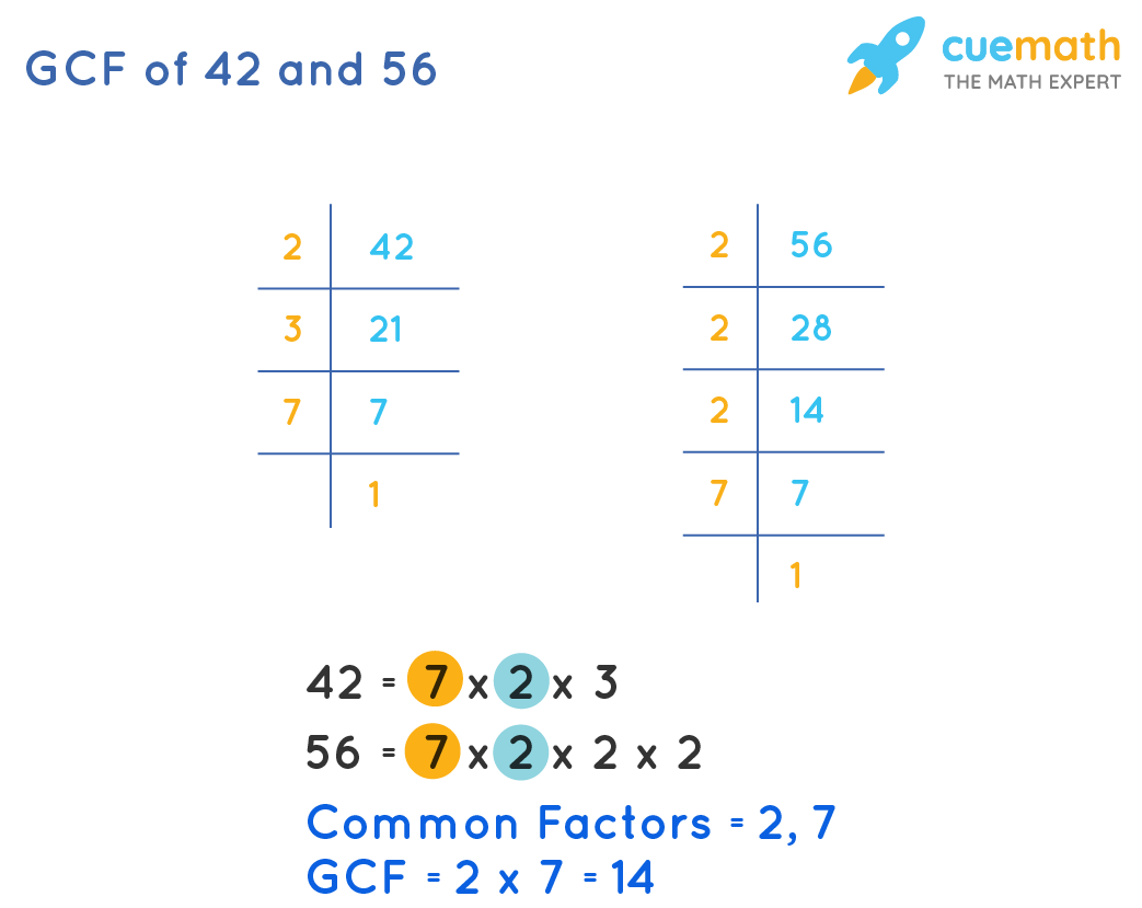 GCF of 42 and 56 by Prime Factorization