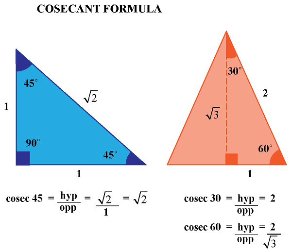 cosecant of an angle in a right triangle and equilateral triangle