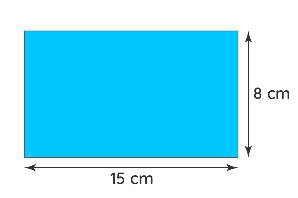 find the area of the rectangle of dimensions 15 cm and 8 cm.