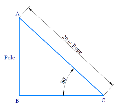 A circus artist is climbing a 20 m long rope, which is tightly stretched and tied from the top of a vertical pole to the ground. Find the height of the pole, if the angle made by the rope with the ground level is 30°