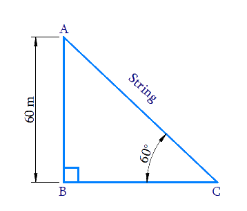 kite is flying at a height of 60 m above the ground